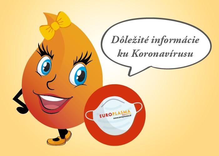 Europlasma - daruj plazmu - dôležité informácie ku Koronavírusu